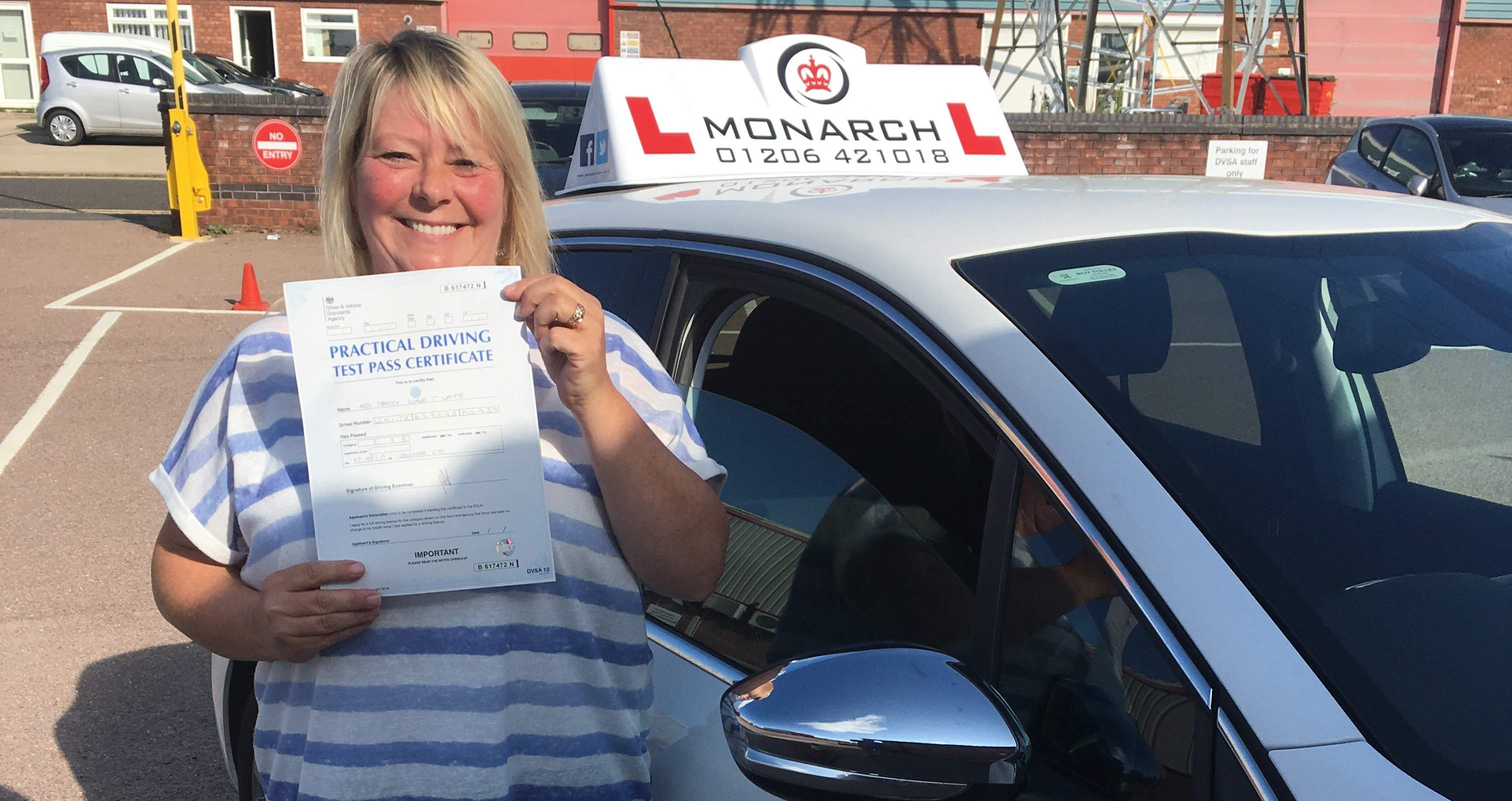 A lady passing her test at Colchester test centre