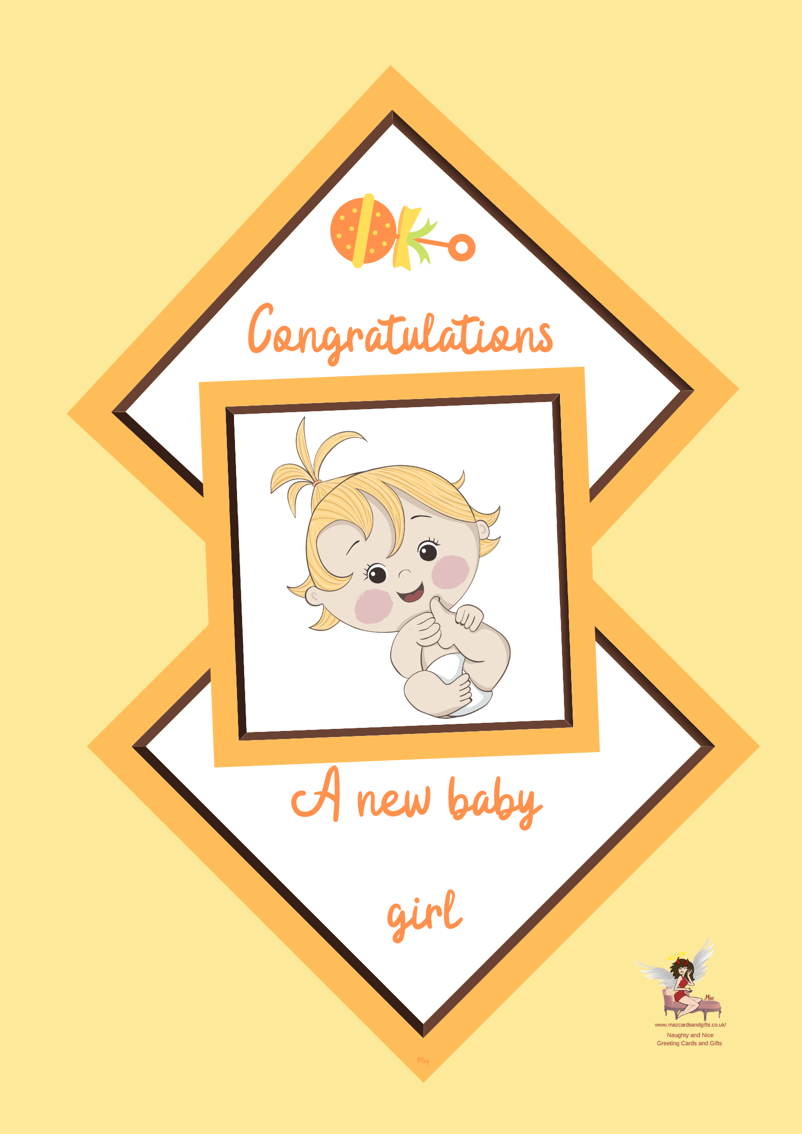 New Baby Girl Greeting Card ~ Order No 298
