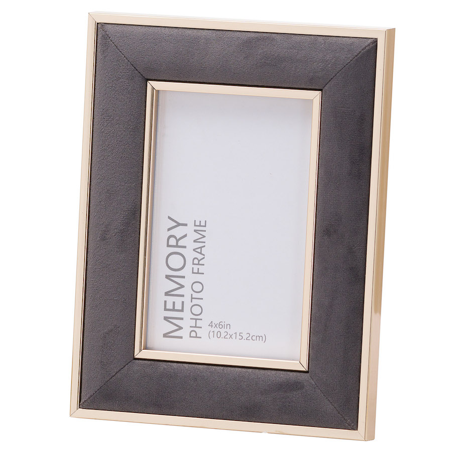 Grey Velvet Picture Frame - 4 x 6 inches