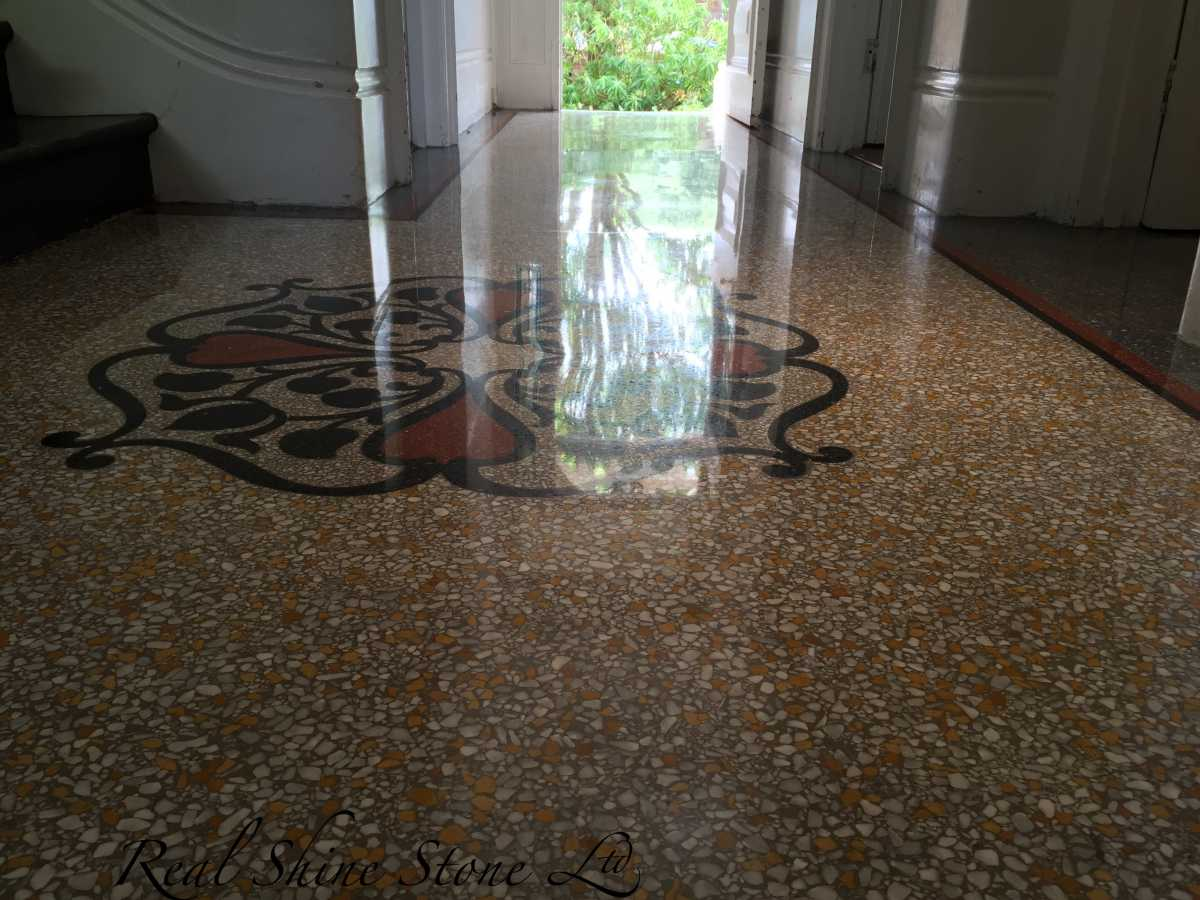 Terrazzo fishing after diamond grinding and polishing