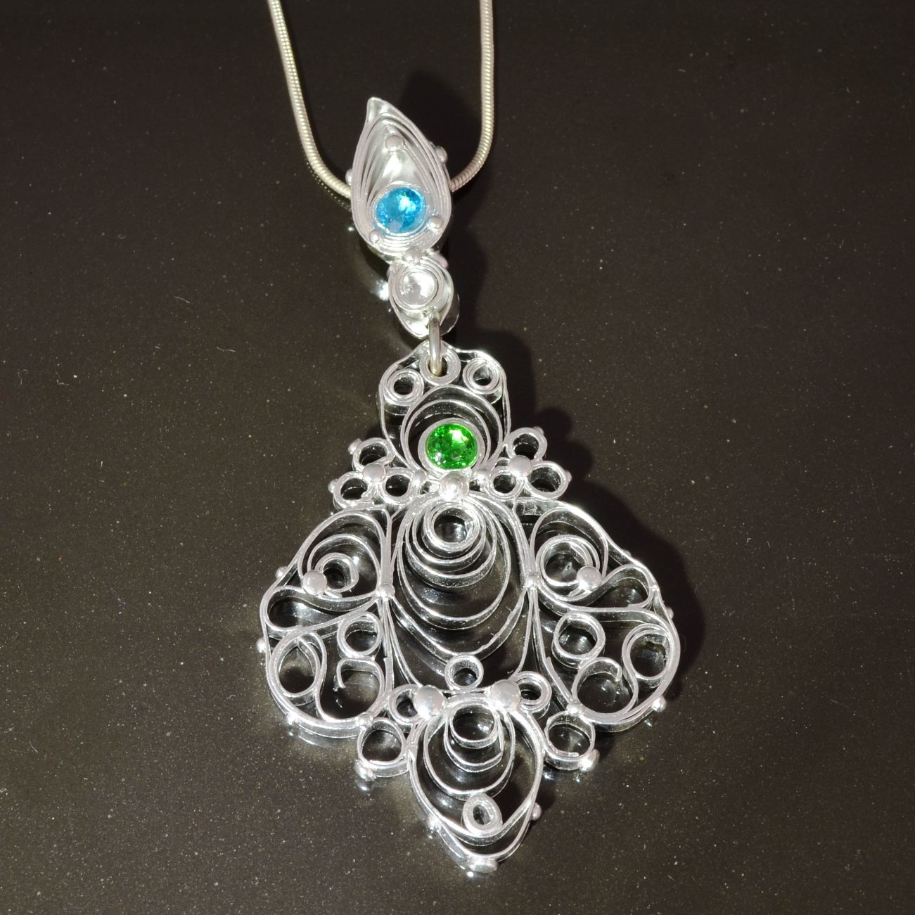 Quilligree Silver Clay Pendant by Tracey Spurgin of Craftworx Jewellery Workshops