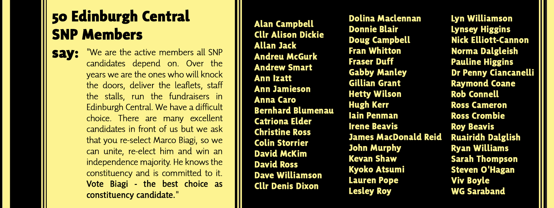 50 current Edinburgh Central SNP members sign joint declaration for Marco