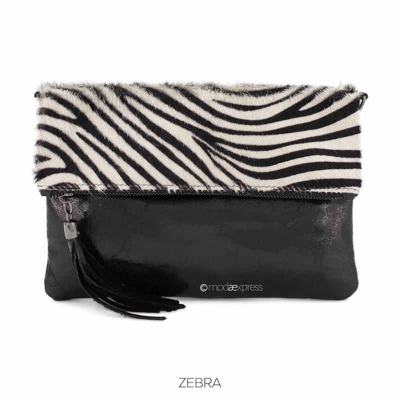 Foldover Animal Print Clutch - Zebra