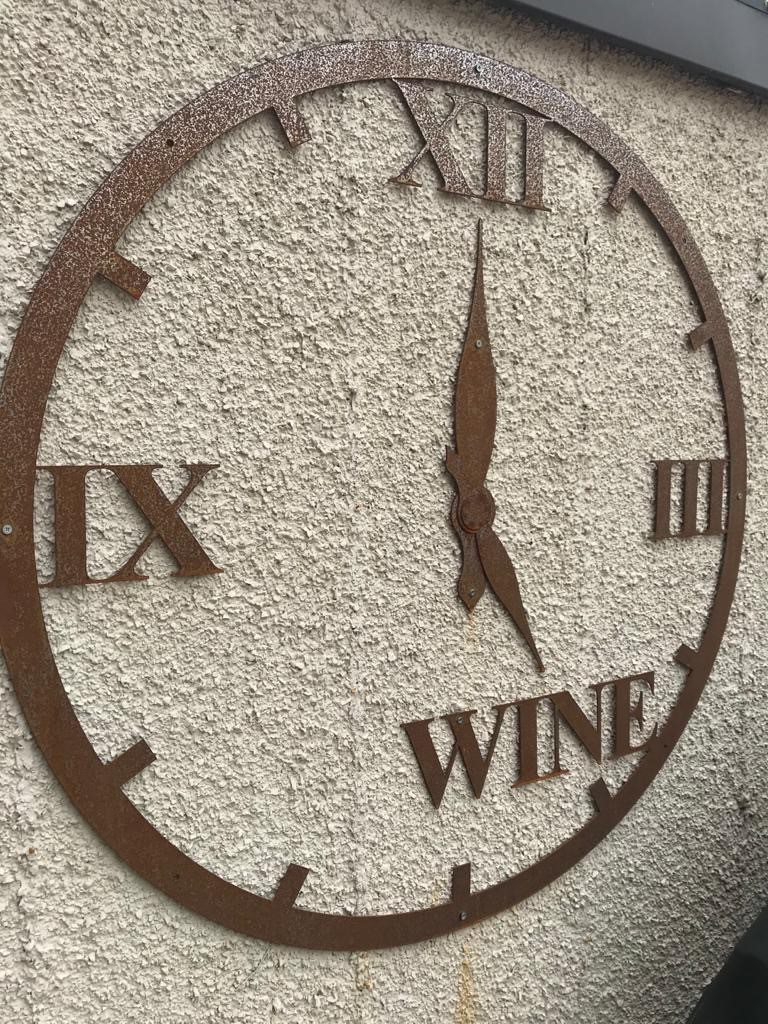 Steel Wine O'clock Garden Art 90CM