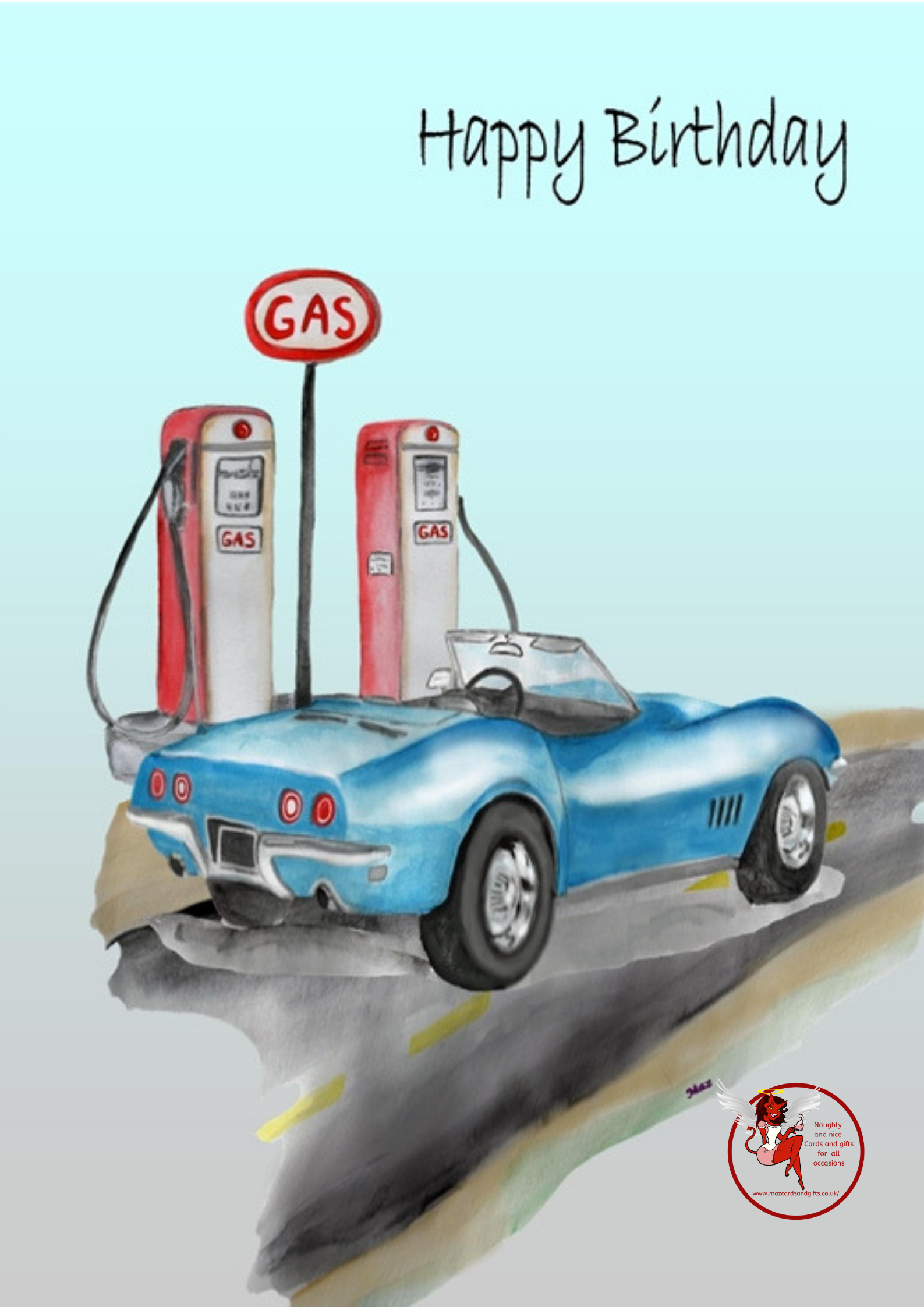General Birthday - Blue Car - Retro Gas Pump - Order No 006