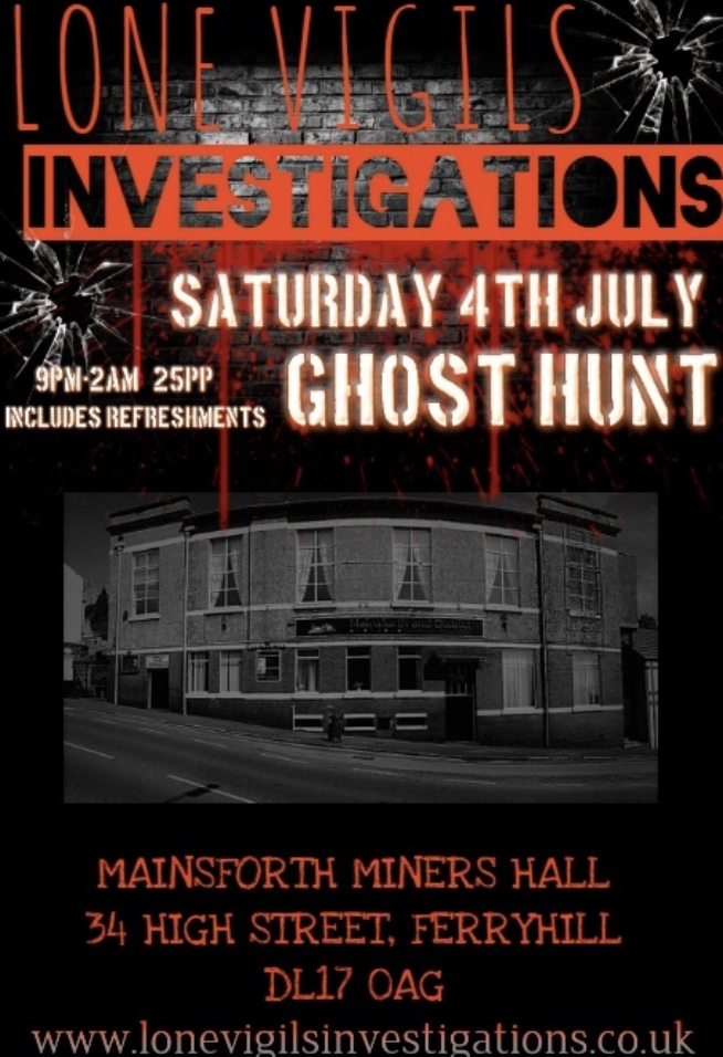 Mainsforth Miners Hall 2020 9pm-2am