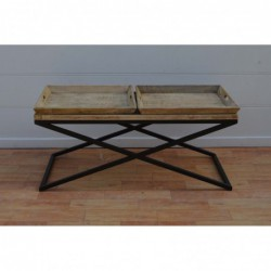 Wooden top coffee table with two trays. Metal frame.