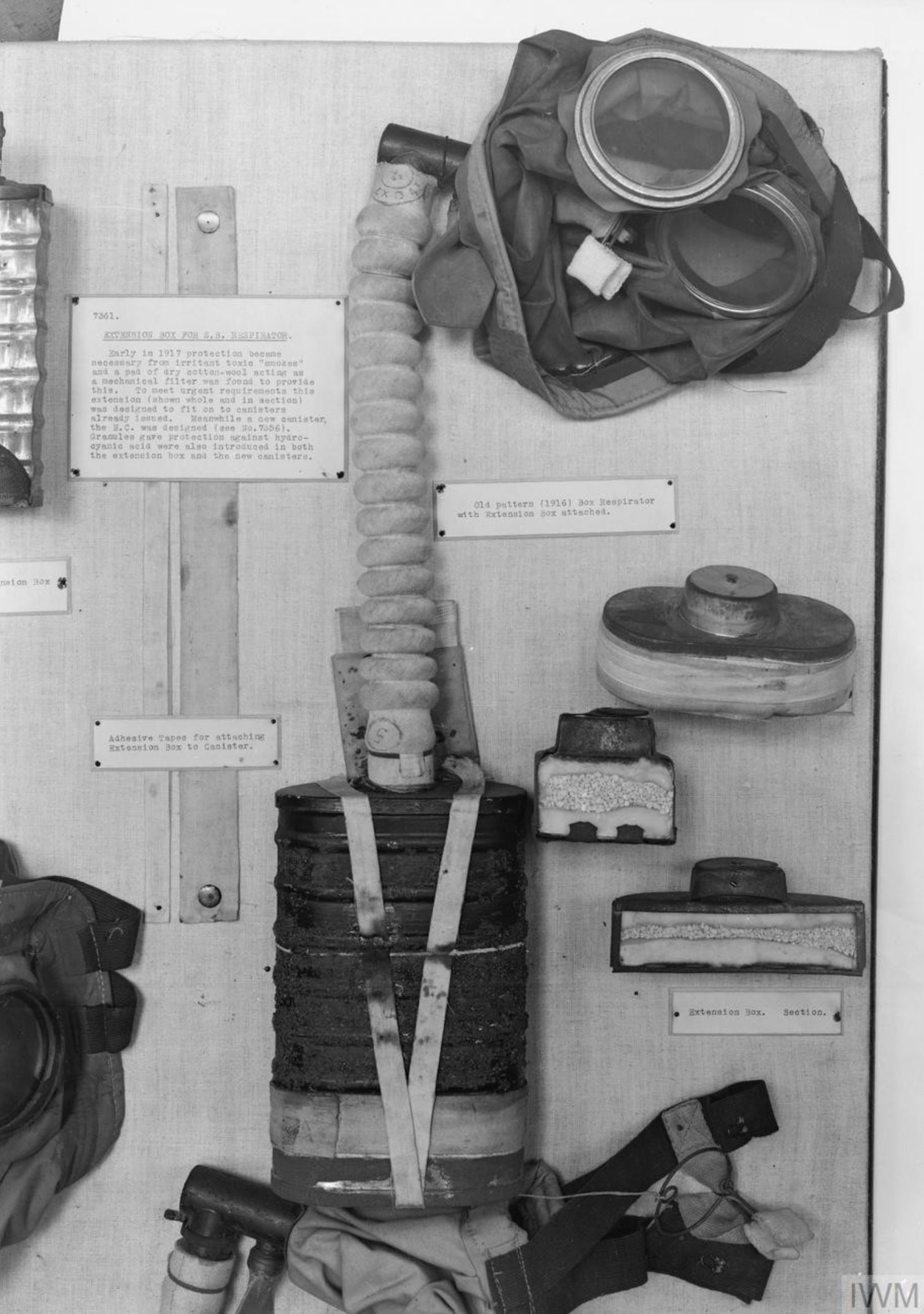 IWM Exhibit Development of the Gas Mask Portion showing Old Pattern 1916 Box Respirator with Extension Box attached and sections Introduced early 1917 IWM Q 65852JPG