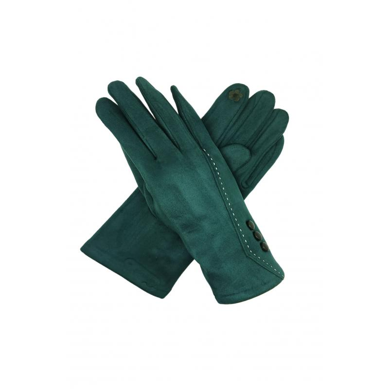 Classic Green Gloves with Buttons