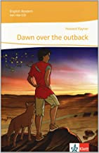 cover illustration of young boy and dingo staring at the sunrise of book Dawn over the outback