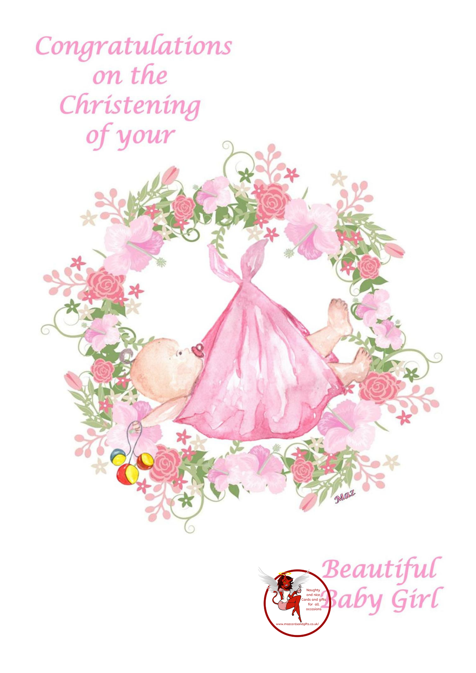 Christening Card - Baby Girl - Order No 005