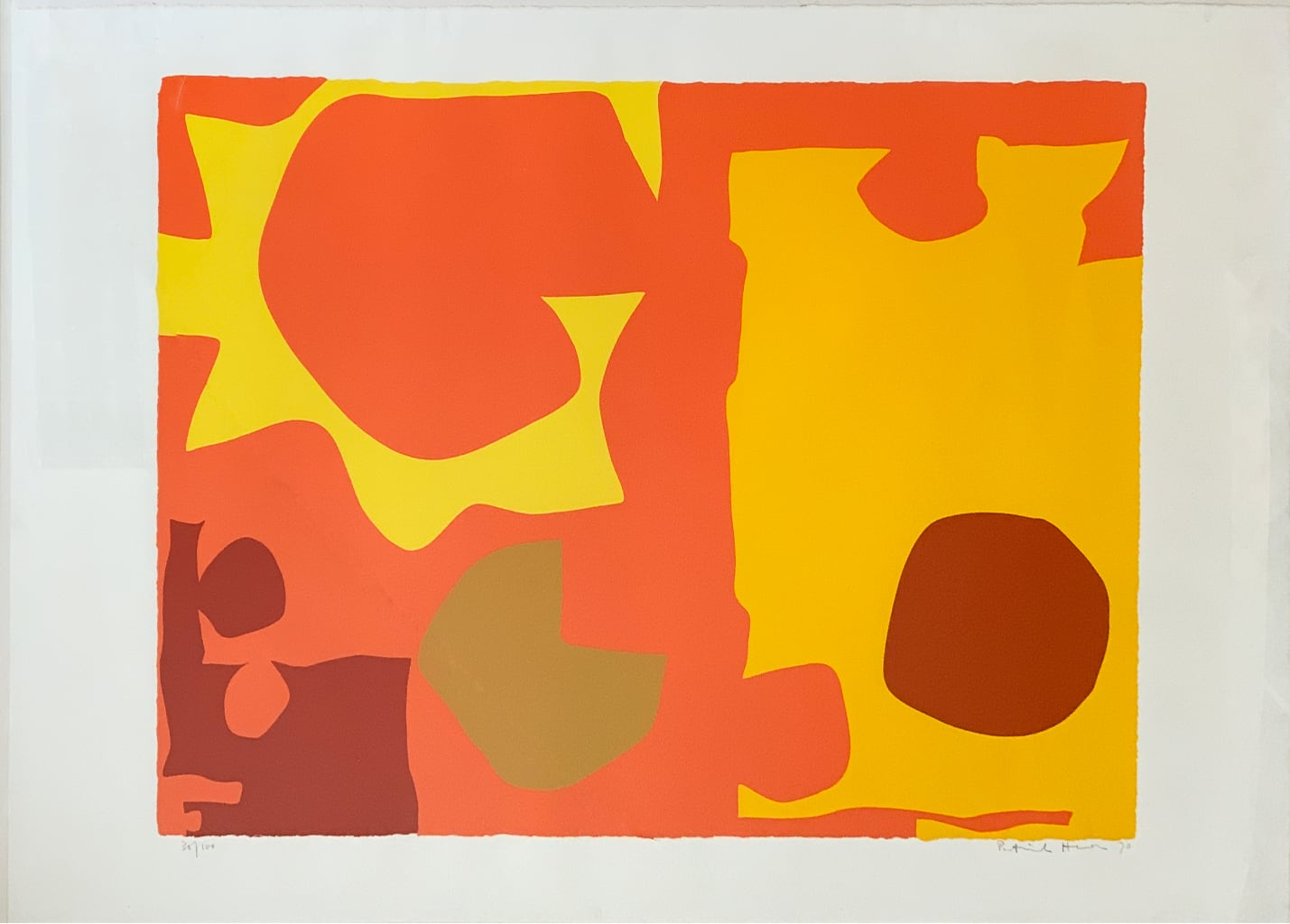 Patrick Heron - Six in Light Orange with Red in Yellow (April 1970)