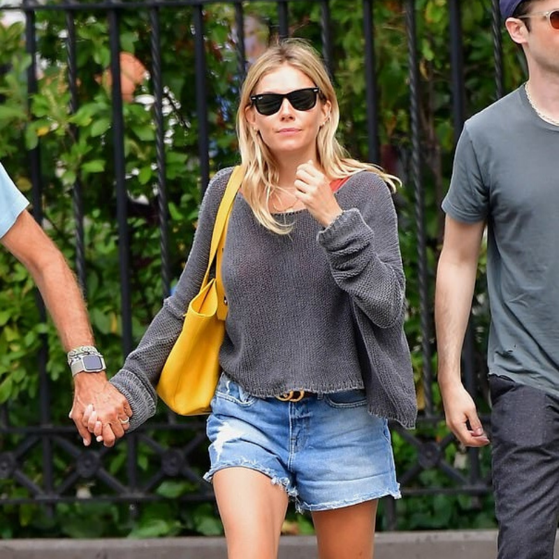 Sienna Miller and her Tamara Harvey Yellow Leather Cross Body Bag