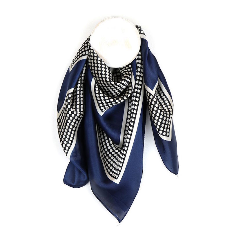 Silky Square Scarf with Black Spots and Navy Border