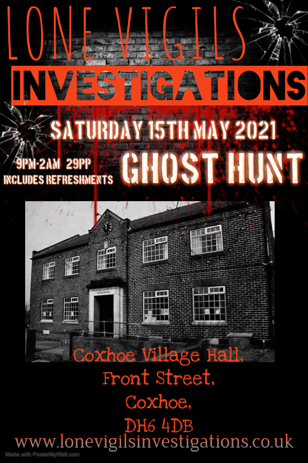 Coxhoe Village Hall Saturday 15th May 2021