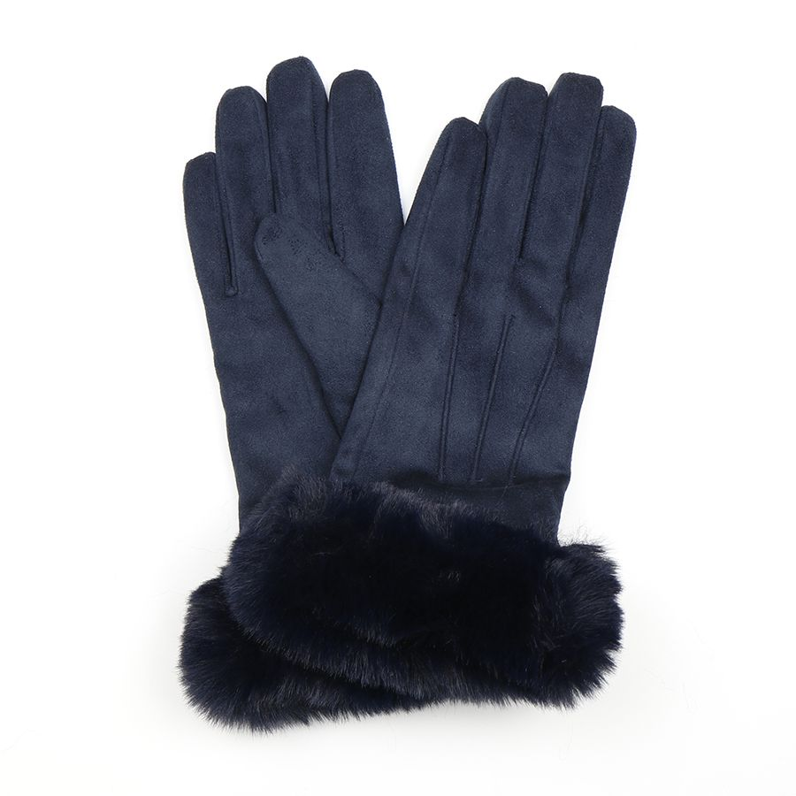 Blue Gloves with Faux Fur Cuff