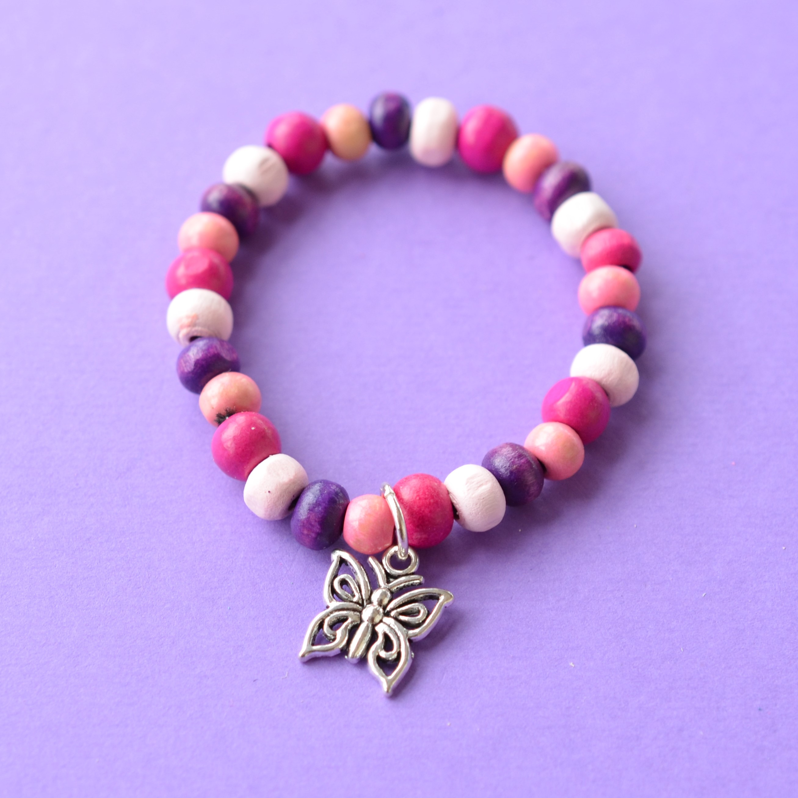 Butterfly Colourful Child's Wooden Bead Charm Bracelet