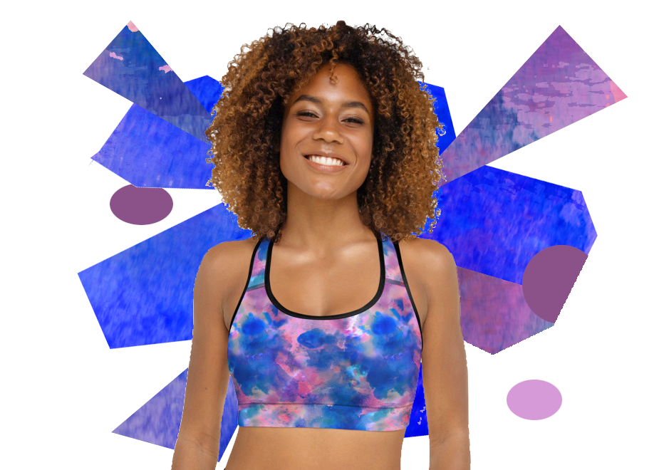 Blue Watercolours Padded Sports Bra Top