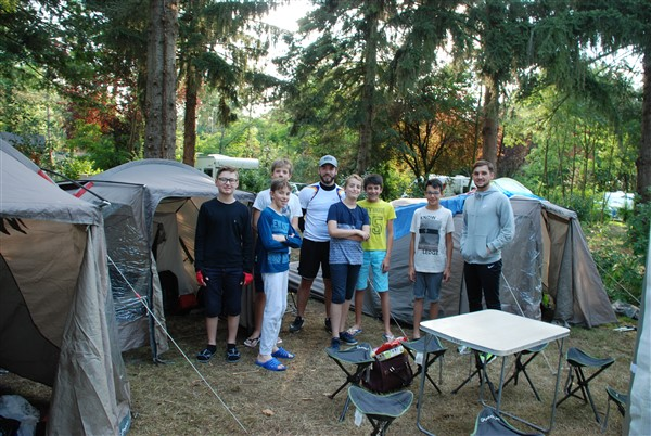July 2017 – group of french lads who had cycled 46km before arriving at Camping Le Vieux Moulin for