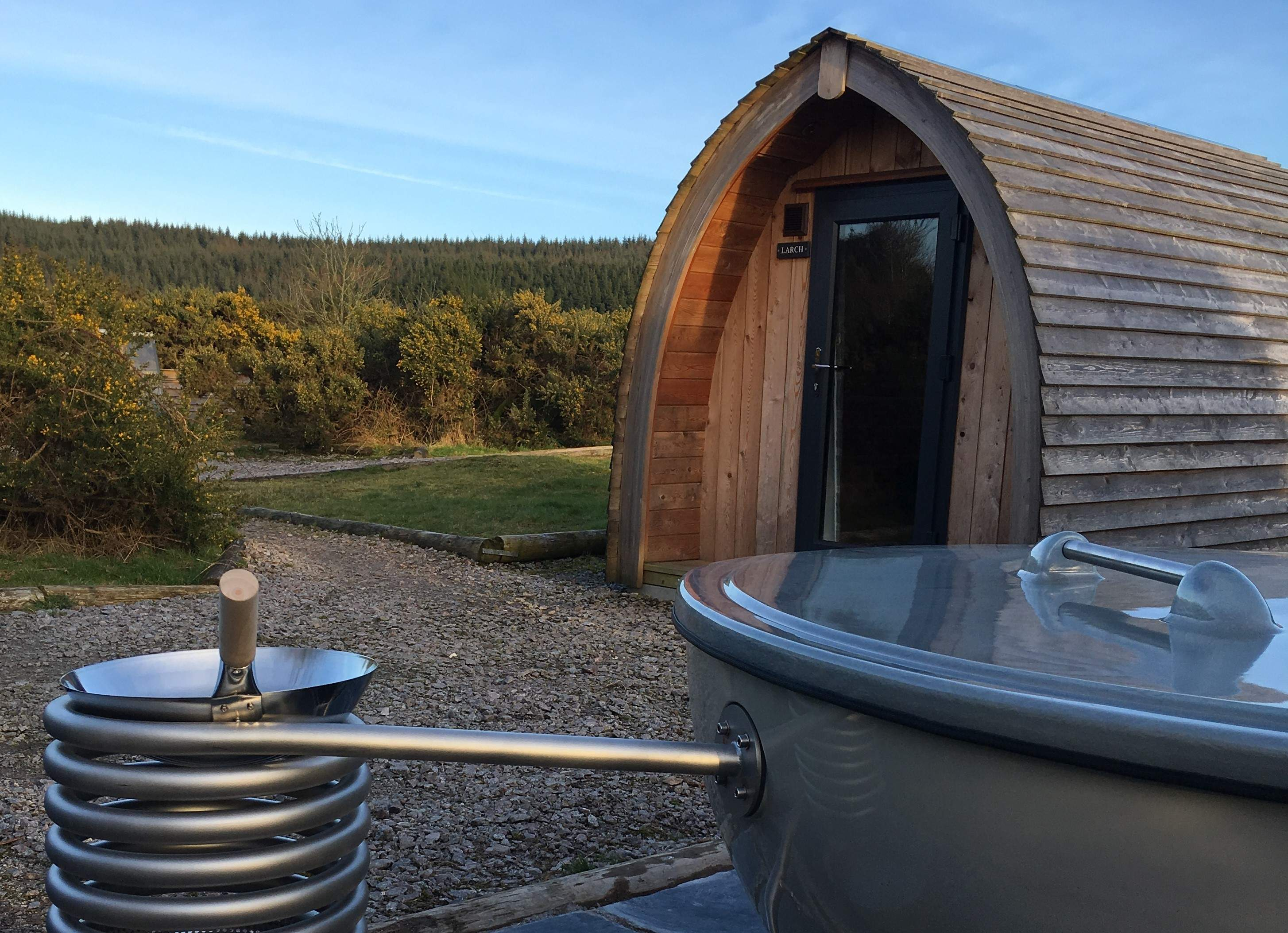 Glamping Cabins & Pods in SW Scotland with wood fired hot tubs