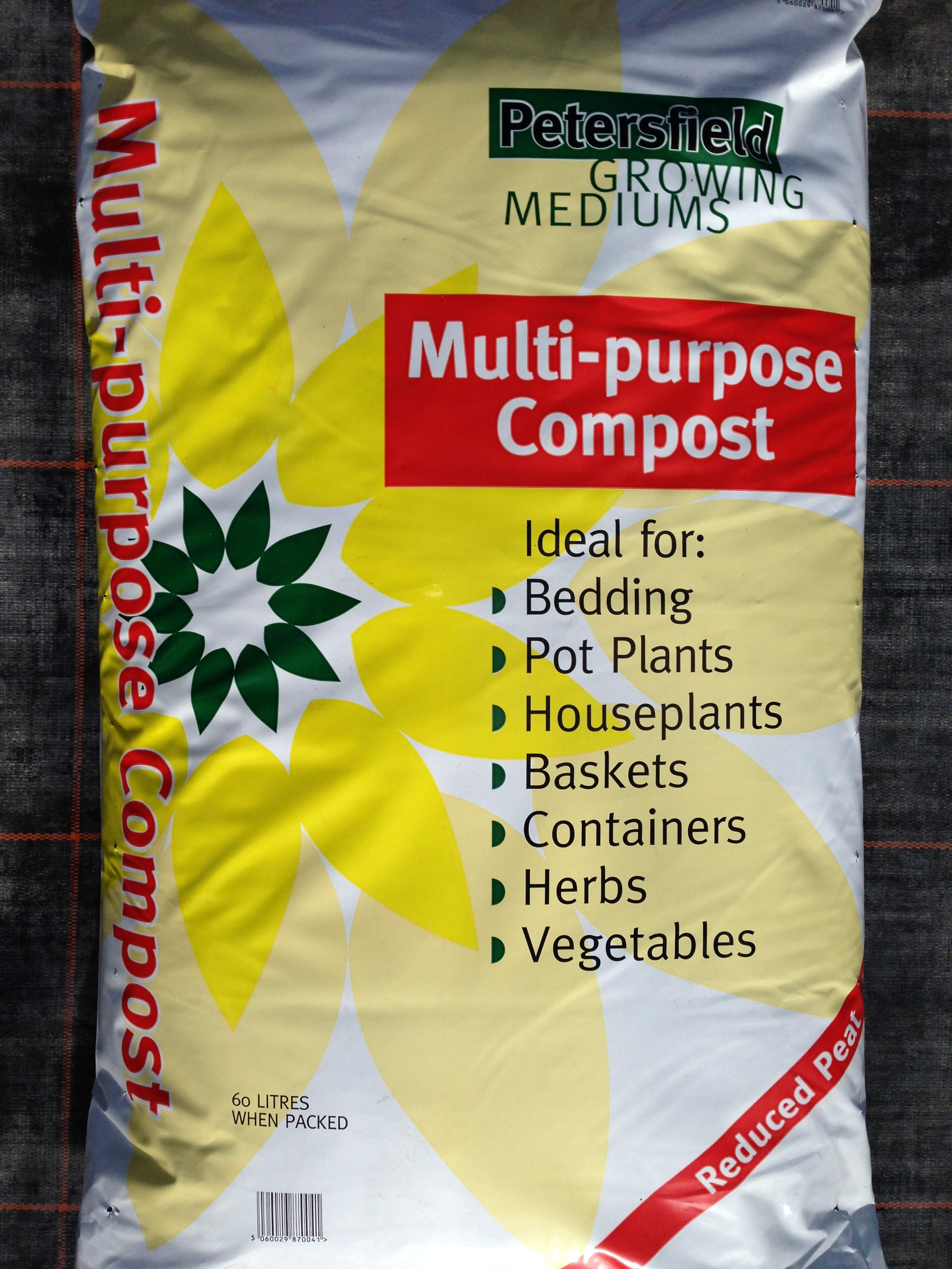 Petersfield Multi-purpose Compost 60 Litres £8.00; 25 Litres £4.25