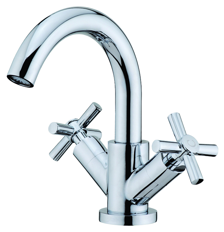 Cross Monobloc Basin Mixer Tap with Waste
