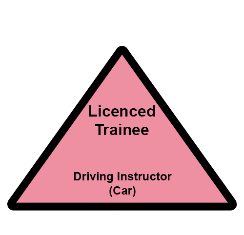 Black on pink triangular badgeof a Licenced Trainee driving instructor