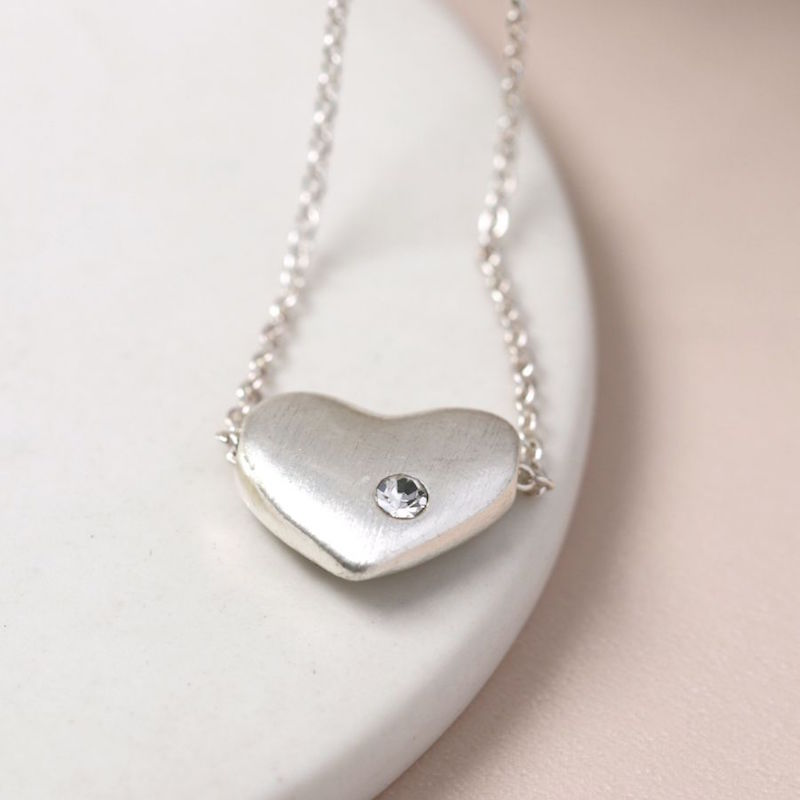Silver Chain Necklace with Silver/Crystal Heart