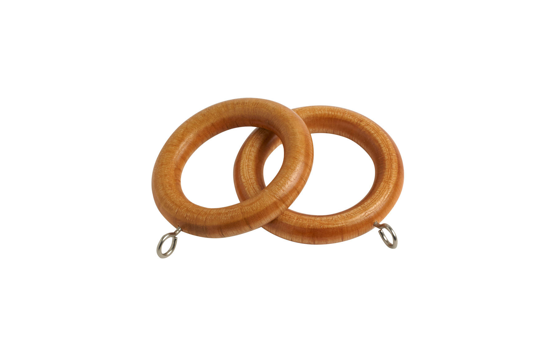 County 28mm Wooden Curtain Rings Antique Pine - 4 Pack