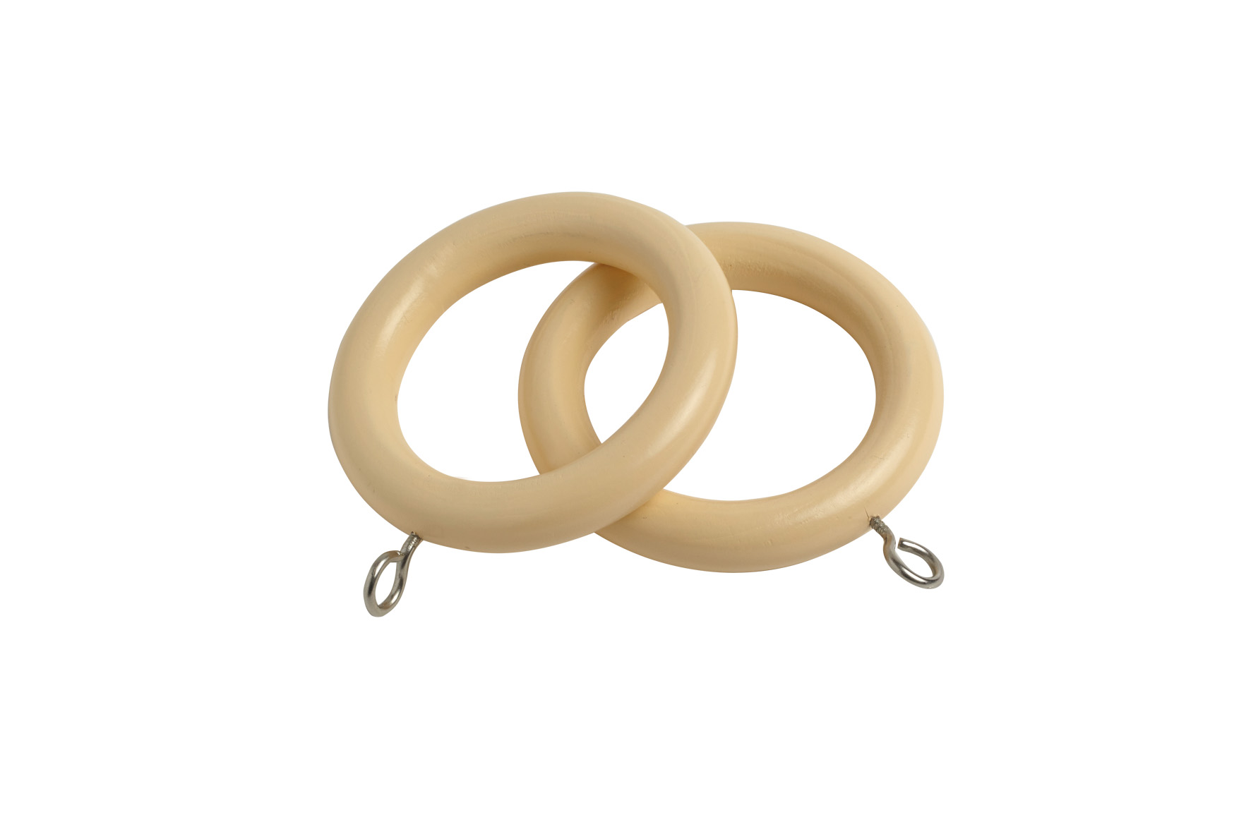 County 28mm Wooden Curtain Rings Cream - 4 Pack