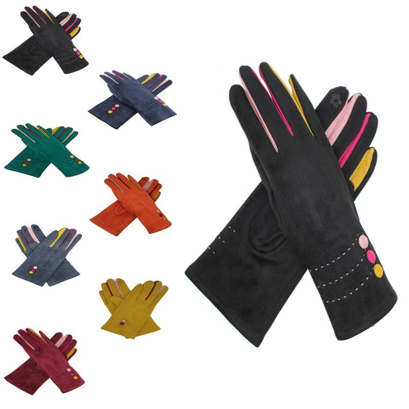 Black Suede Effect Gloves with Multi-Fingers and Buttons