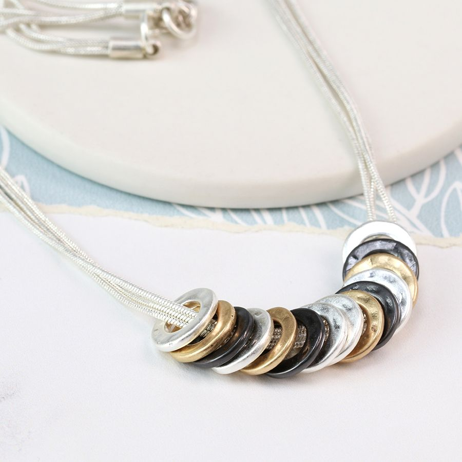 Tri-colour Ring Necklace on Silver Chain