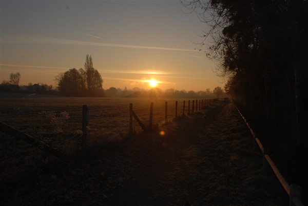Cycle path behind campsite at sunrise