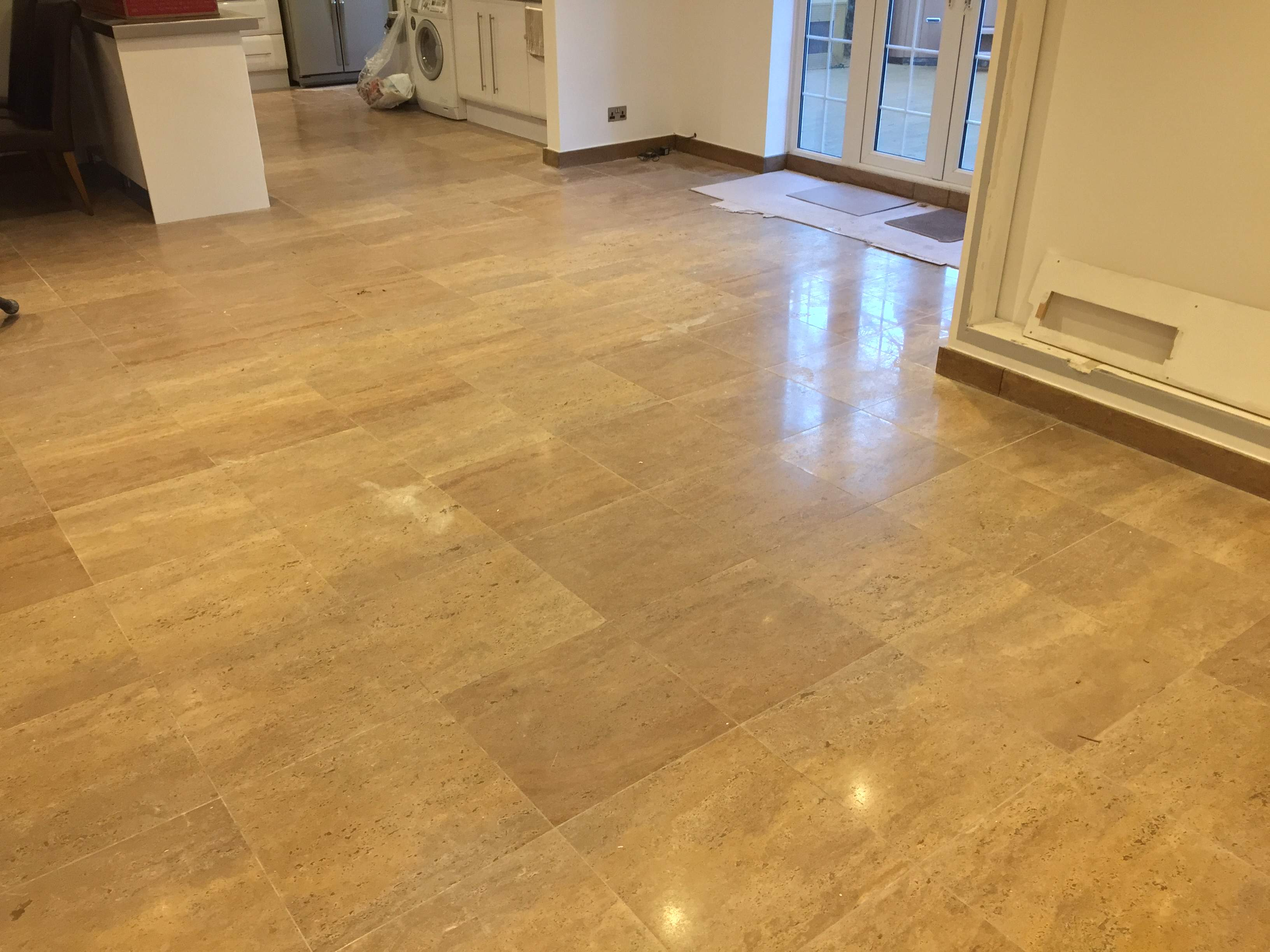 travertine polishing before