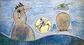 Max Ernst - Oiseaux (blue background)
