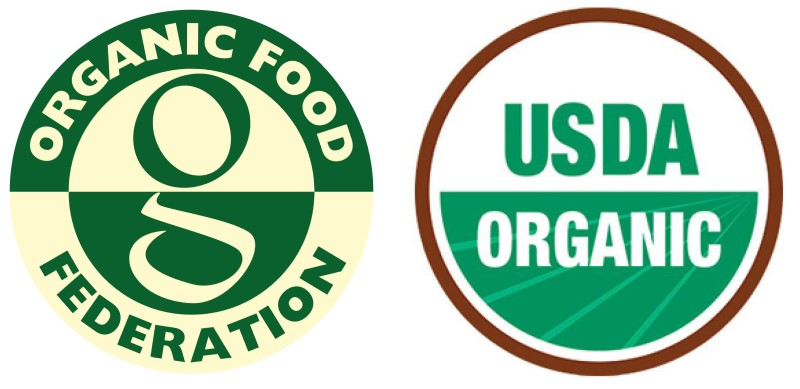 The logos of the Organic Food Federation and USDA Organic
