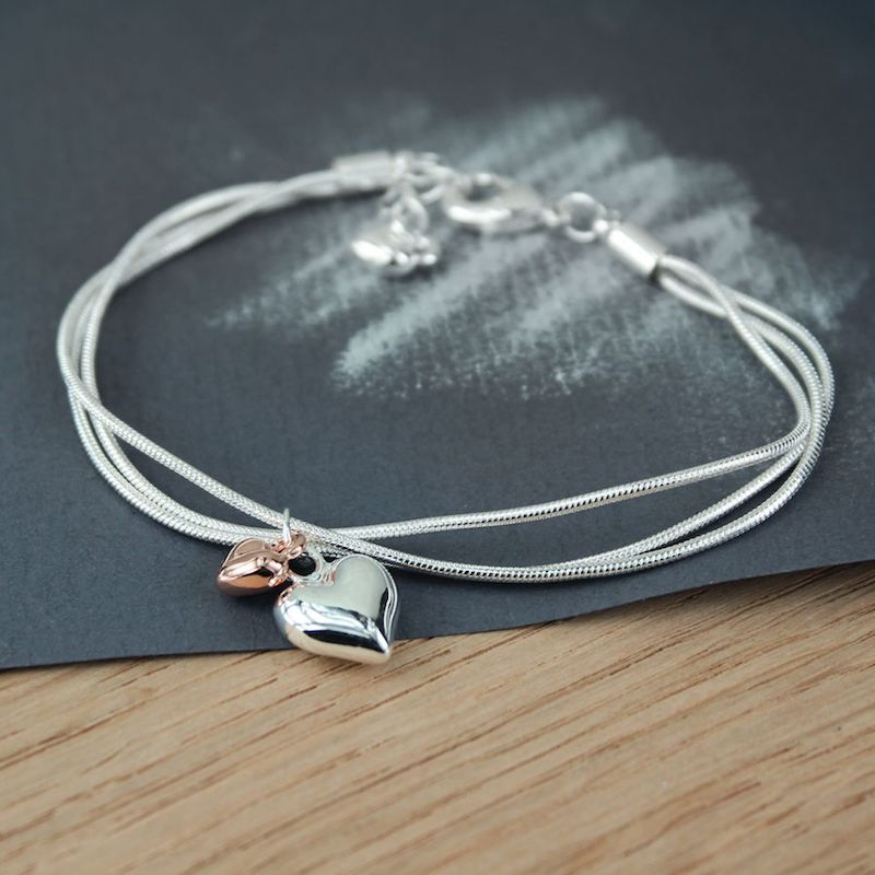 Triple Chain Bracelet with Silver and Rose Gold Hearts