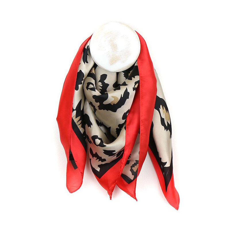 Animal Print Scarf with Red Border