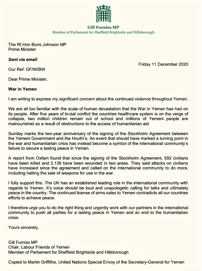 Chair of LFY sends a letter to PM asking for a leading role to push for a lasting peace in Yemen