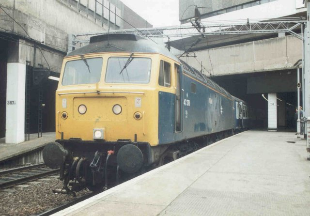 47376 waits to depart Birmingham NS with the 0931 to Great Yarmouth 3/8/91  (Noel Creswell)