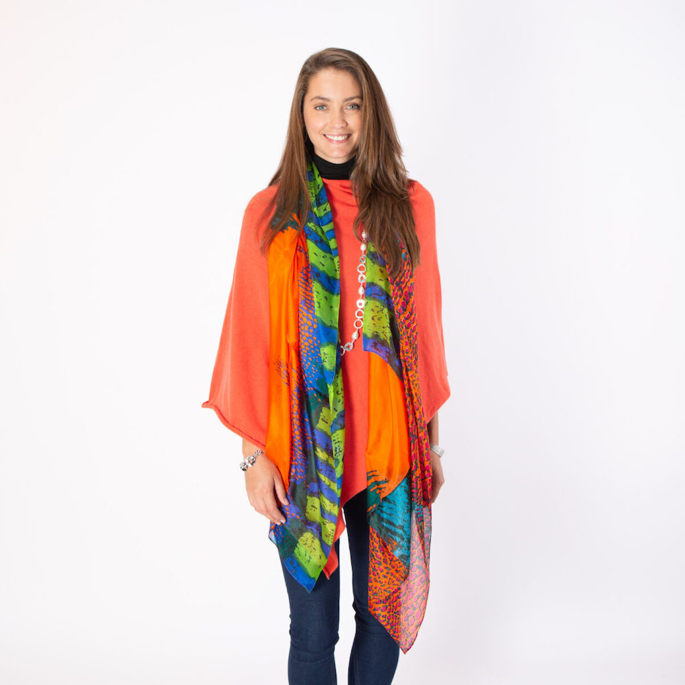 Silk Scarf in Orange Abstract Leopard Design
