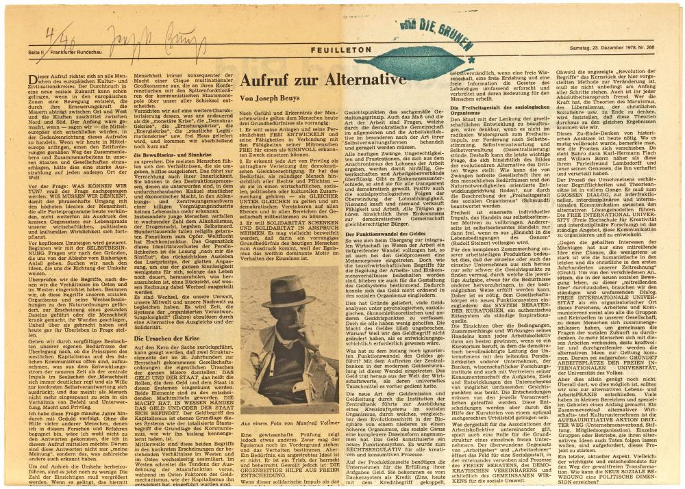 Beuys 'Appeal for an alternative'