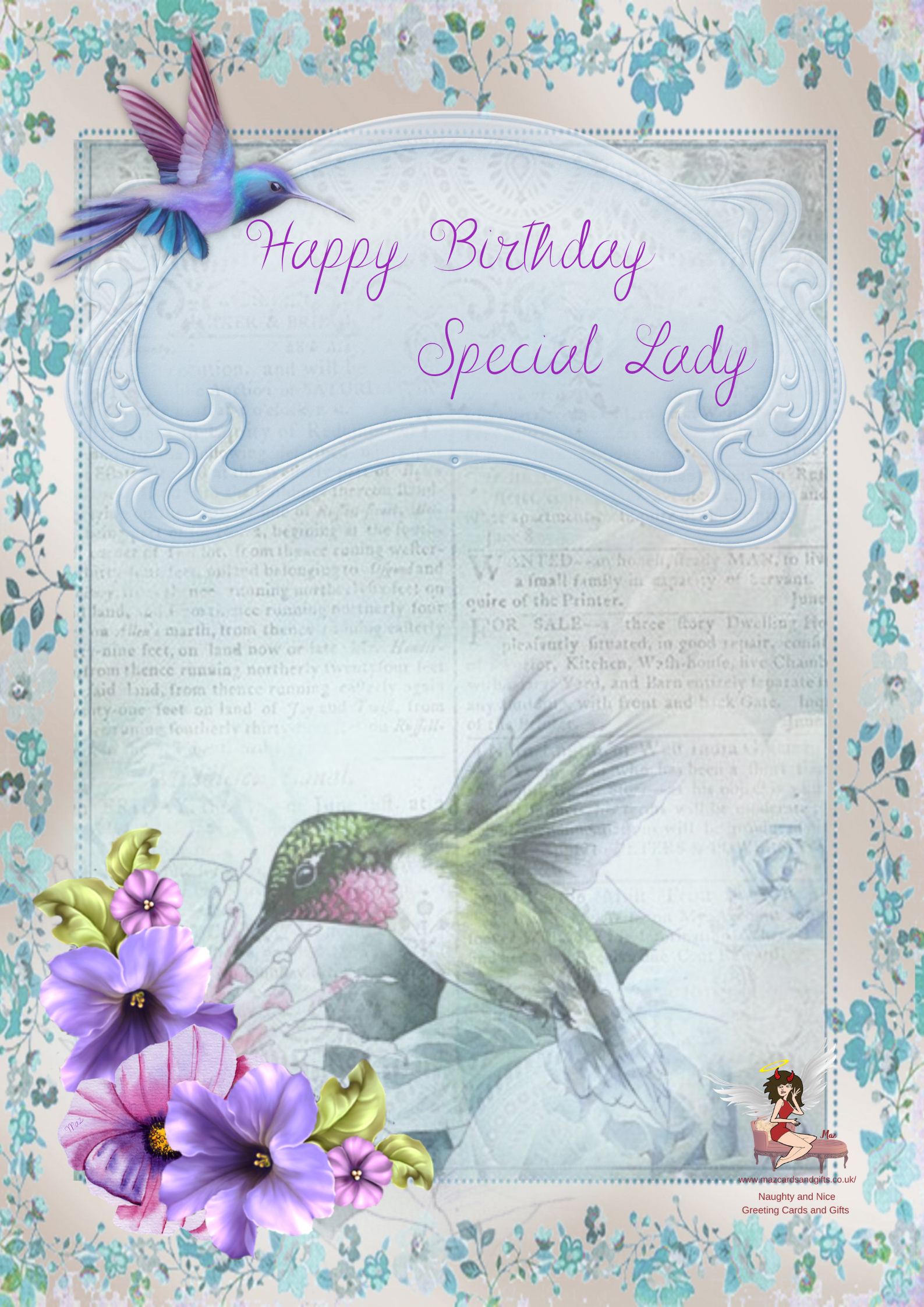 Humming Birds ~ Special Lady ~ Greeting Card ~ Order No 271