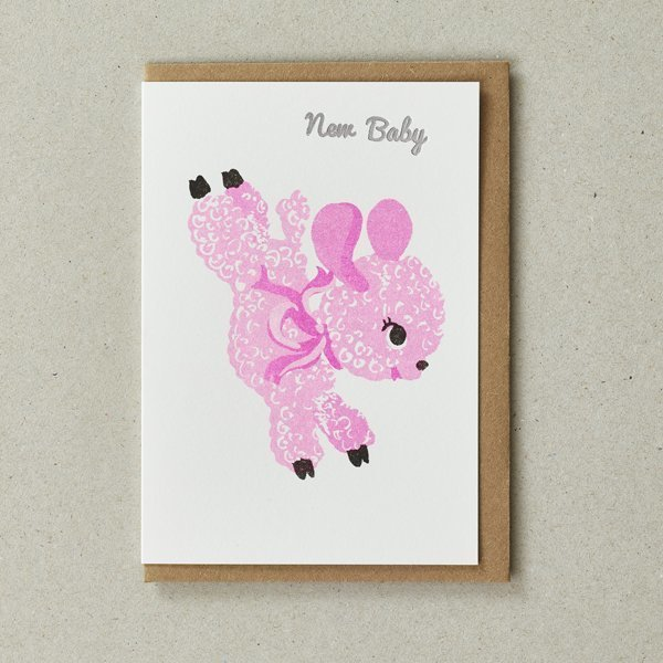New Baby Card with Pink Lamb by Petra Boase