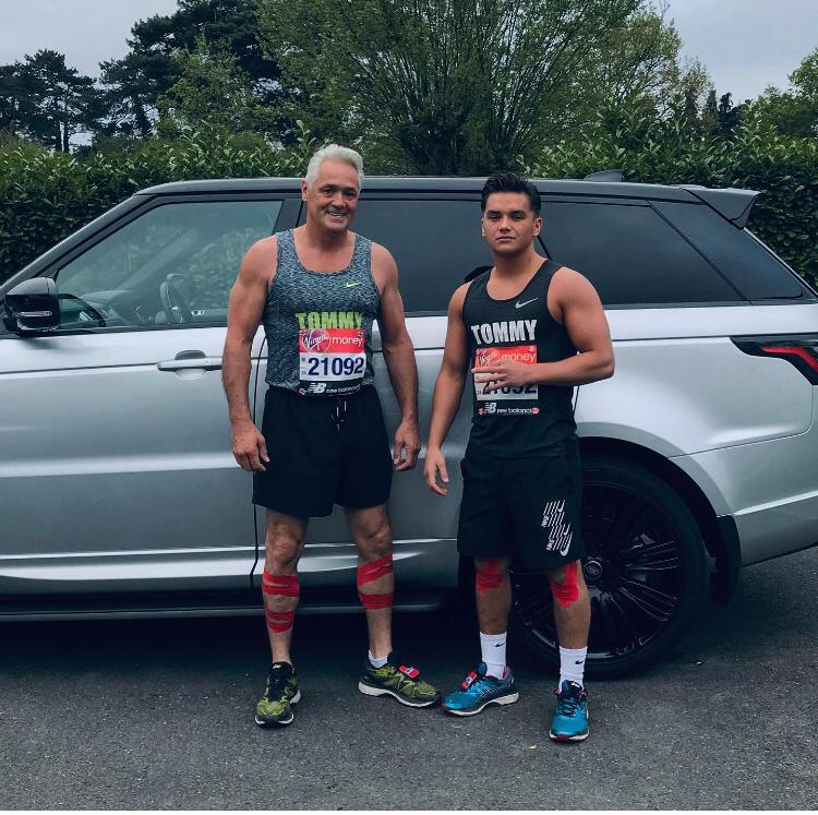 Tommy Roberts Snr and Little Tommy Roberts before taking part in the 2019 London Marathon