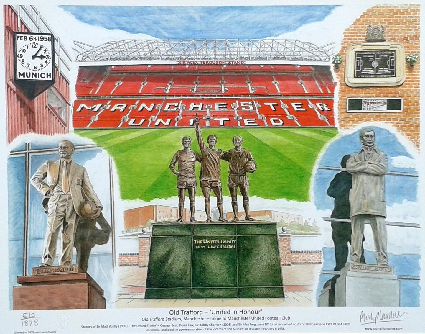 Premium number Manchester United 'United in Honour' fine art print - unframed
