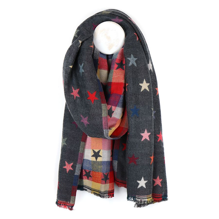 Reversible Grey Scarf with Stars