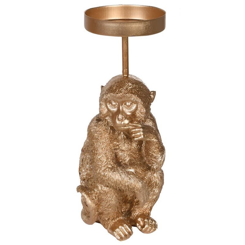 Small Gold Monkey Candle Holder