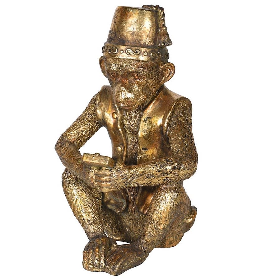 Gold Sitting Monkey Ornament