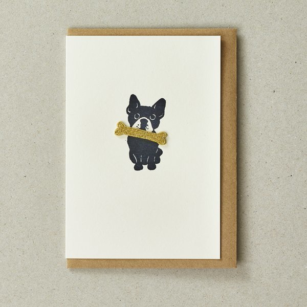 Bulldog Card with Gold Bone Iron-On Patch